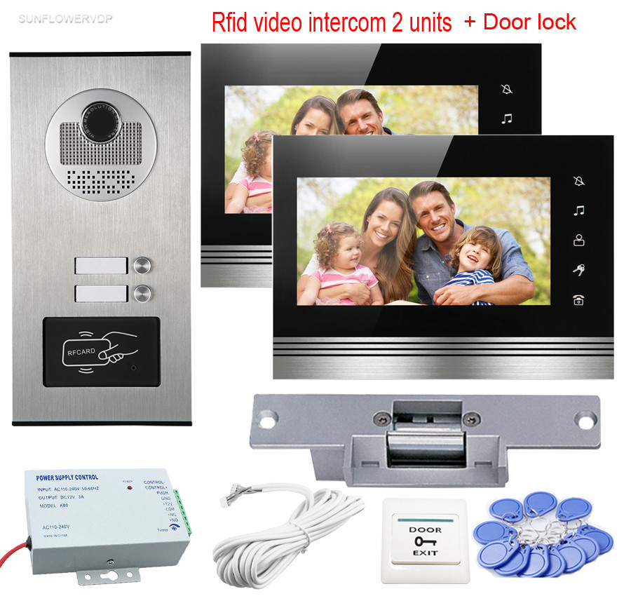 7 RFID Access Camera Video Door Phone for 2 Apartment With 2 Touch Button Color Monitors Video Intercom + Electric Strike Lock high tech door locks apartment combination lock touch keypad for door access