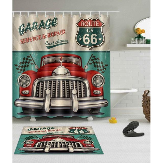 Retro Car Trip Shower Curtain with Rug