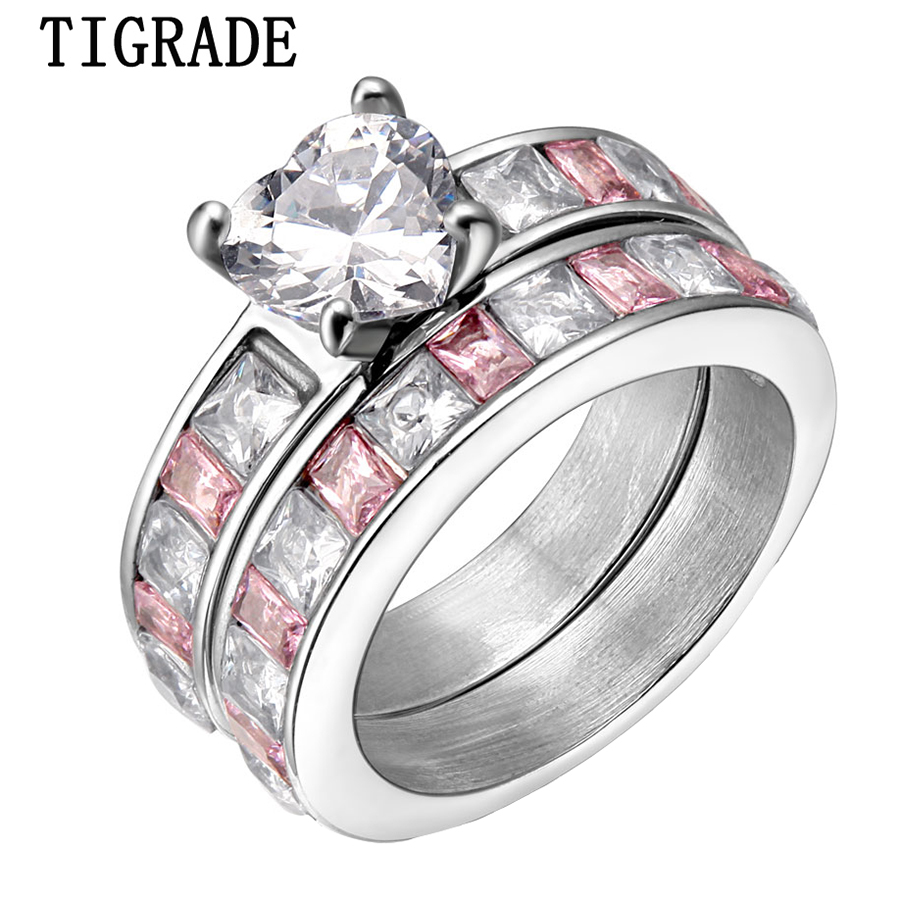 2 pieces Womens Stainless Steel Ring CZ Crystal Inlay Hot Sale Finger Jewelry