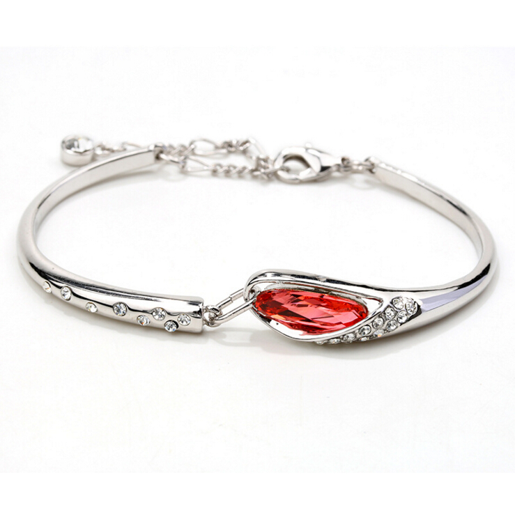 Girl women Gift Fashion Jewelry New Crystals Women Charm Bangle Lucky Bracelet For Woman + Gift bag