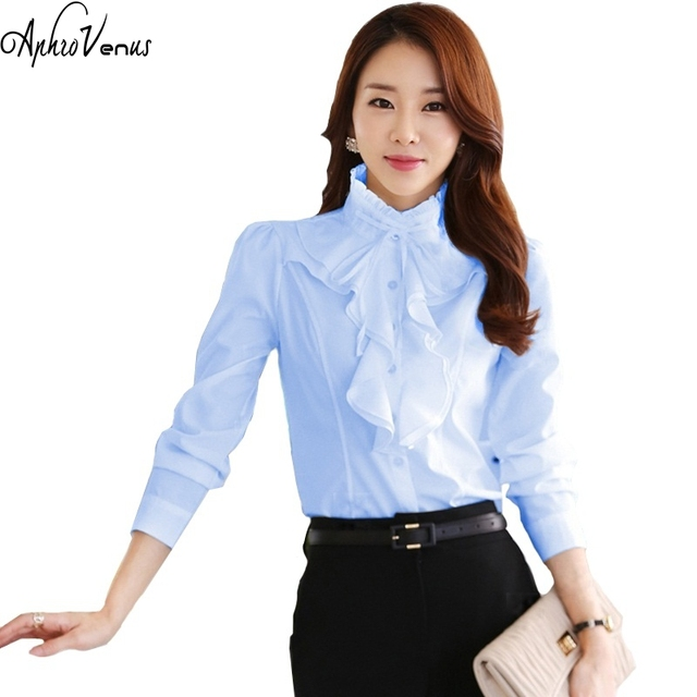 3e49eb73135a4 New Arrival Chiffon Ruffles Lady White Shirts Long Sleeve Shirt Formal Work Blouse  Plus Size S
