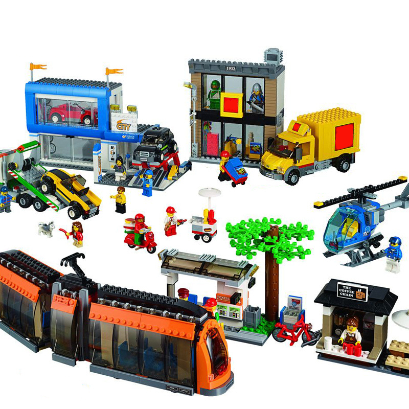 1767pcs Diy The City Series Town Square Helicopter Model Building Blocks Compatible With Legoingly Bricks Toys Gift For Children diy city square building bricks blocks figures toys for children game model car gift compatible with lepins 3d toys