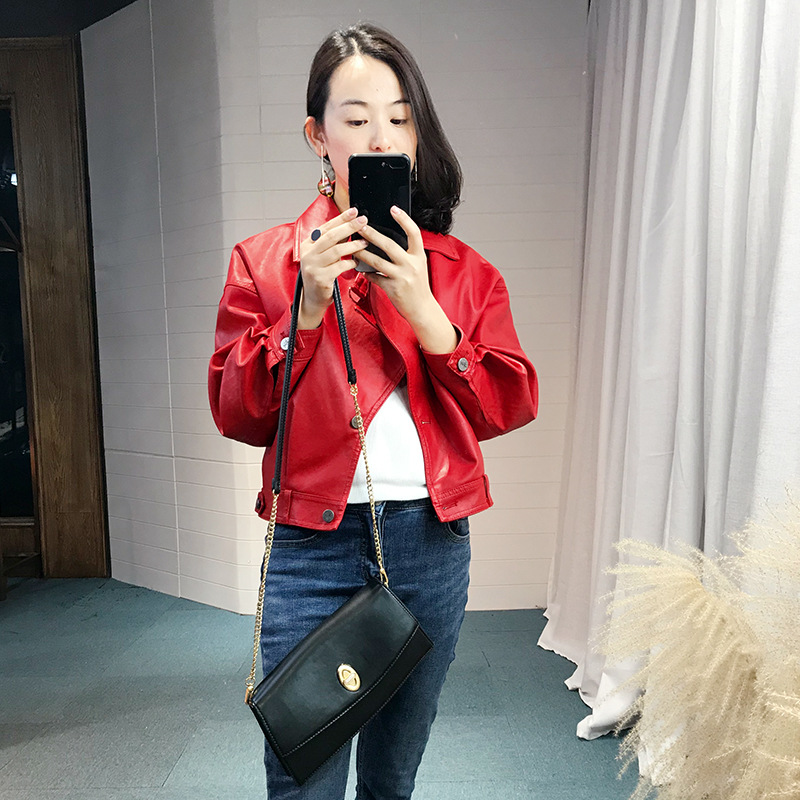 Fashion loose fit faux   leather   jacket women turn down collar single breasted   leather   coat outerwear new 2019 autumn winter