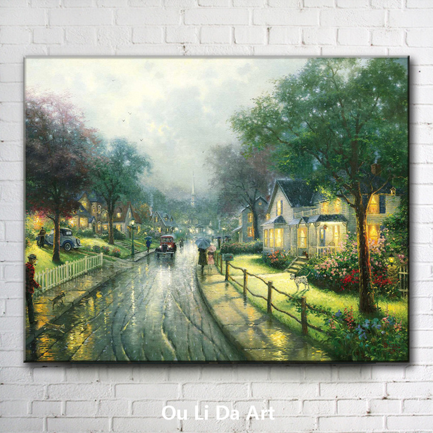 classical Thomas rural house road light landscape canvas printings oil painting printed on canvas wall art decoration pictures