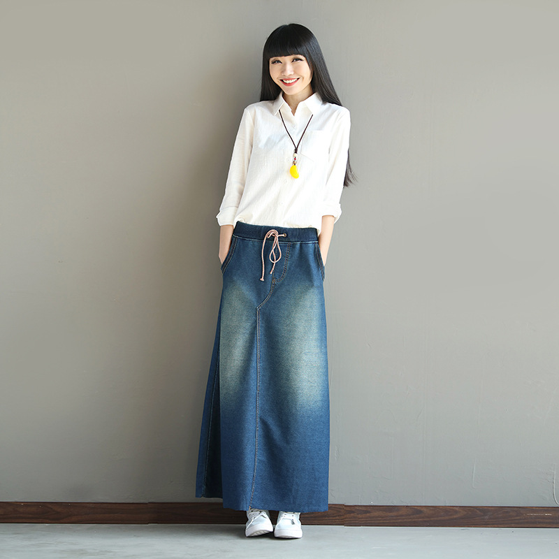 Plus Size Maxi Skirt For Women Denim Skirts 2018 Autumn Spring New Bleached Fashion Long Casual Denim Skirt A line Skirts