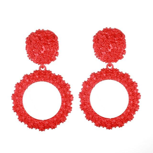 2019 phụ nữ Bông tai hợp thời trang vòng tròn Lớn màu đỏ bông tai trang sức thời trang vàng tuyên bố mùa hè Earings treo đồ trang sức
