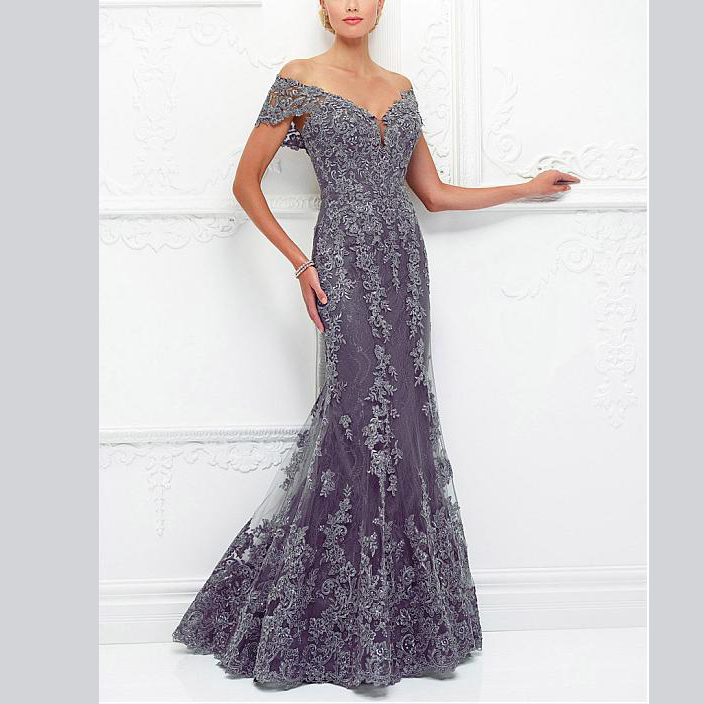 Elegent Scoop Sheath Appliques Tulle Custom-Made Mother Of The Bride Dress Designers