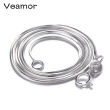 VEAMOR 45/50CM Necklace Chain 925 Sterling Silver Lobster Clasp Adjustable Simple Chain Fashion Necklace Jewelry