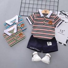 New Summer Casual Version of Childrens Short Sleeve Suit Cartoon Bear Stripes Lapel Shorts