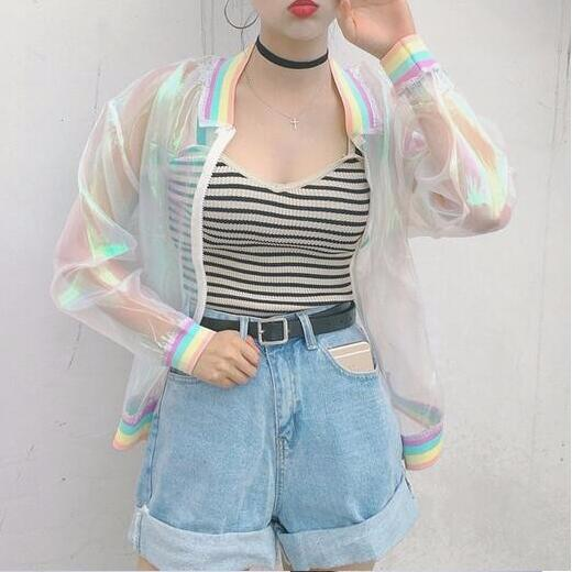 New summer tide transparent organza colorful rainbow tie-dye loose thread color sun protection