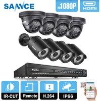 SANNCE 16CH 1080P 2MP dvr-рекордер системы видеонаблюдения 4 шт. 1080P HD 1920*1080 In/открытый безопасности пуля купольная камера системы и 2 ТБ HDD Onvif