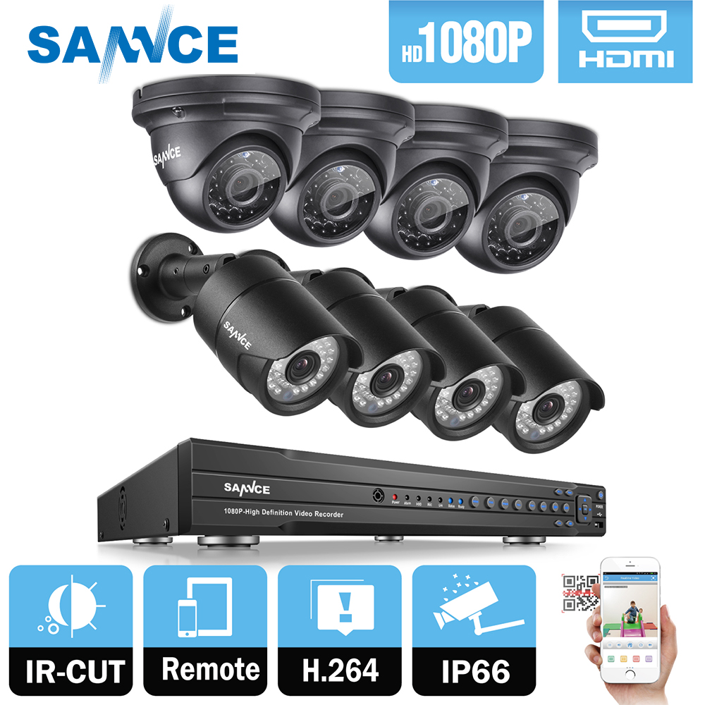 SANNCE 16CH 1080P 2MP CCTV DVR Recorder 4PCS 1080P HD 1920*1080 In/Outdoor Security Bullet Dome Camera System & 2TB HDD Onvif