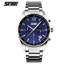 Новый Skmei Нержавеющей Стали Наручные Часы Бизнес Мужчины masculino мужские лучший бренд класса люкс Кварцевый Спорта водонепроницаемый Мода Мальчики часы