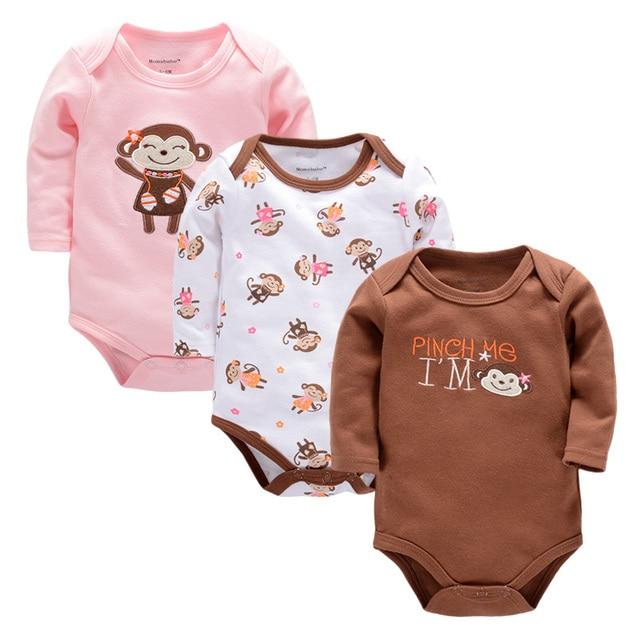 9685cb132 Monos del bebé, 3 Unids/lote Bebés de Algodón Recién Nacido 100% Del ...