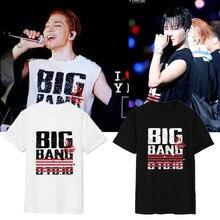 K-pop Bigbang Camiseta Big Bang Superior Tees Camisa o-cuello Flojo de Manga Corta negro Blanco Tops T-shirt