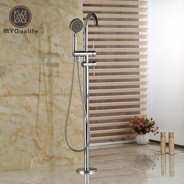 Bright Chrome Floor Mount with Handshower Bathtub Mixer Faucet Free Standing Bathroom Tub Taps