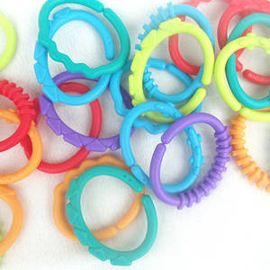 Baby Rainbow Toys Ring-Links Kids Children Gym ABS S7JN 24pcs Play-Mat Infant-Stroller