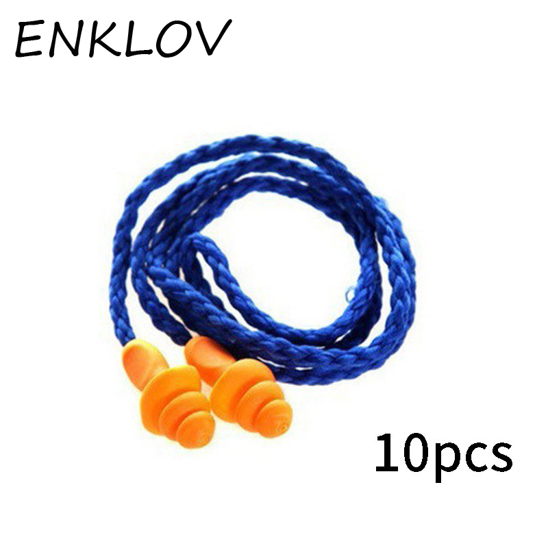 ENKLOV 10Pcs Soft Silicone Corded Ear Plugs Ears Protector Reusable Hearing Protection Noise Reduction Earplugs Earmuff 30 200 pairs soft silicone corded ear plugs ears protector reusable hearing protection noise reduction earplugs earmuff