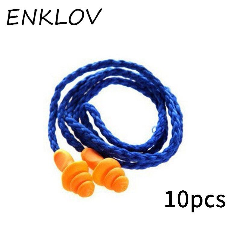 цена ENKLOV 10Pcs Soft Silicone Corded Ear Plugs Ears Protector Reusable Hearing Protection Noise Reduction Earplugs Earmuff