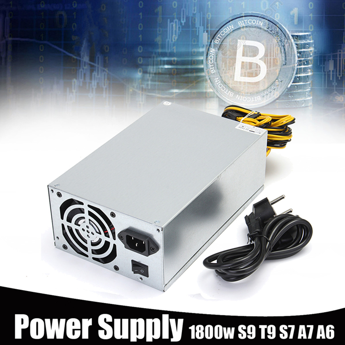 10 x 6 pin 1800W Power Supply Suitable For S9 T9 S7 A7 A6 E9 A4 Miner High Quality Computer power Supply For BTC Mining dash miners riser 1800w psu ant s7 s9 a6 a7 btc eth miner machine server mining board power supply
