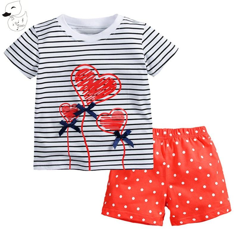 BINIDUCKLING 2017 Baby Girls Sets Summer Boys Sets Clothes T shirt+short Pants cotton sports Heart printed Set Children Suit