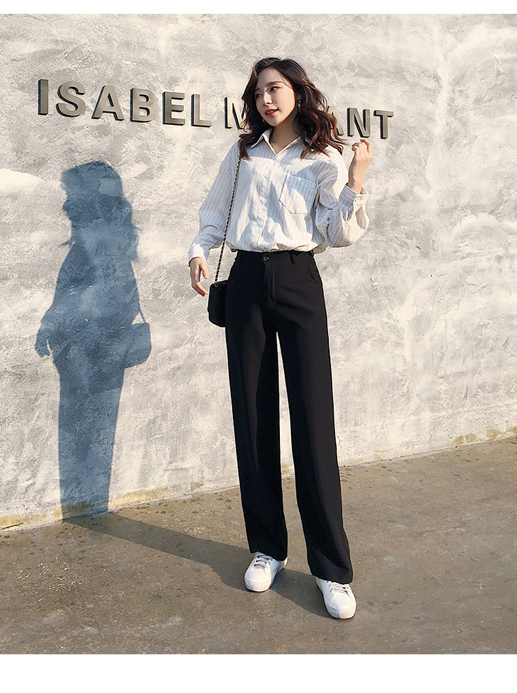 Tall women long pants full length smooth fabric straight wide leg pants female casual loose solid black trousers kpop fashion 18