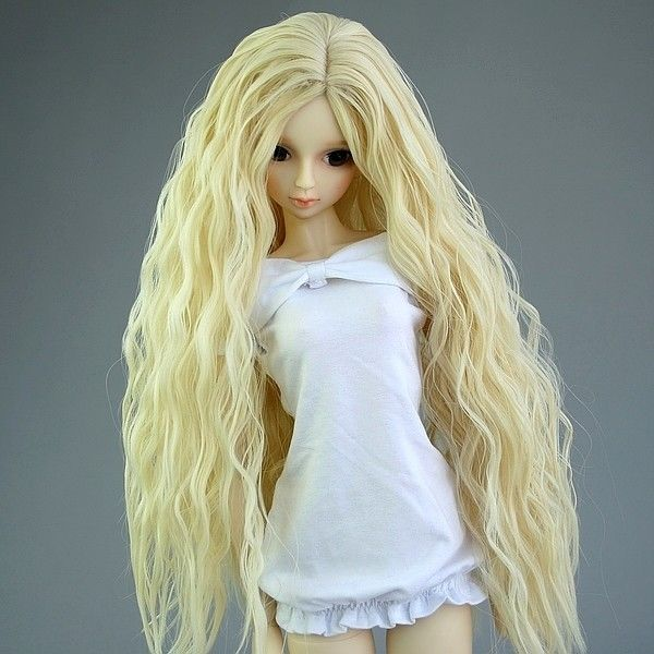 [wamami] 97# Pale Blonde wavy wig for 1/3 SD DOD AOD LUTS BJD Dollfie new 1 3 22 23cm 1 4 18 18 5cm bjd sd dod luts dollfie doll orange black short handsome wig