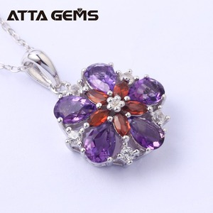 Image 2 - Natural Amethyst Sterling Silver Womens Pendants for Wedding Birthday Party Gifts 3 Carats Natural Crystal Jewelry Brand