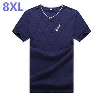 8XL 7XL 6XL 5XL Men's T Shirt New Brand Solid Short Sleeve T Shirt Mens Fashion Applique Design Casual V Neck Top Tee Shirt Men