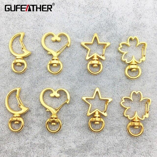 GUFEATHER M218, luna a forma di stella, resina epossidica resina telaio in metallo, di fascino, fatto a mano, ciondolo in oro lunetta ambito, keychain del pendente, monili che fanno