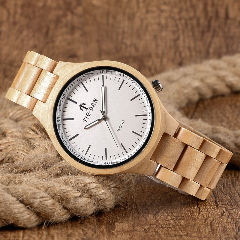 Full Wooden Watches Natural Wood Fold Over Clasp Wristwatch Men Luxury Handmade Quartz Watch Male Clock Reloj de madera fashion top gift item wood watches men s analog simple bmaboo hand made wrist watch male sports quartz watch reloj de madera
