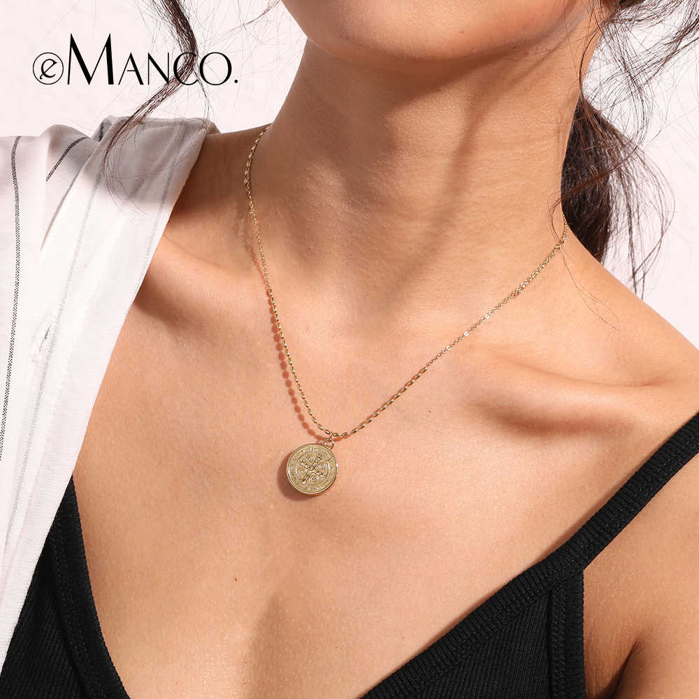 eManco Elegant Choker Necklace For Women Round Stainless Steel Pendant Necklaces Gold Color Fashion Jewelry Friendship Gifts