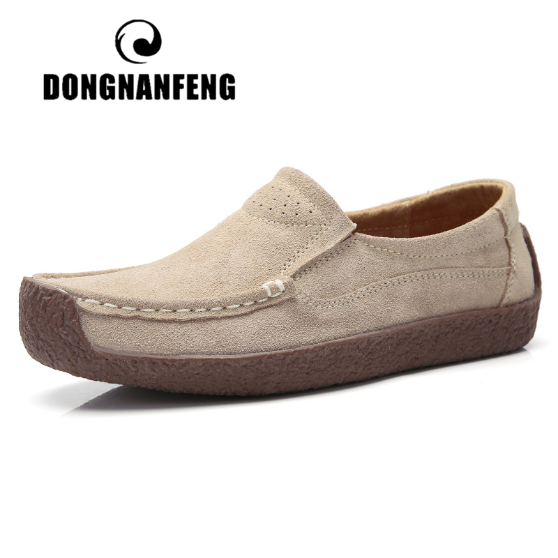 DONGNANFENG Gril Female Women's Cow   Suede   Genuine   Leather   Shoes Flats Slip On Woman Lady Loafers Slip On Mocasines Mujer AM-526