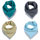 One Pack Mult Colors Reversible Baby Bandana Drool Cotton flax Towel Baby Bibs Unsiex Toddler Triangle Scarf Small Square Napkin