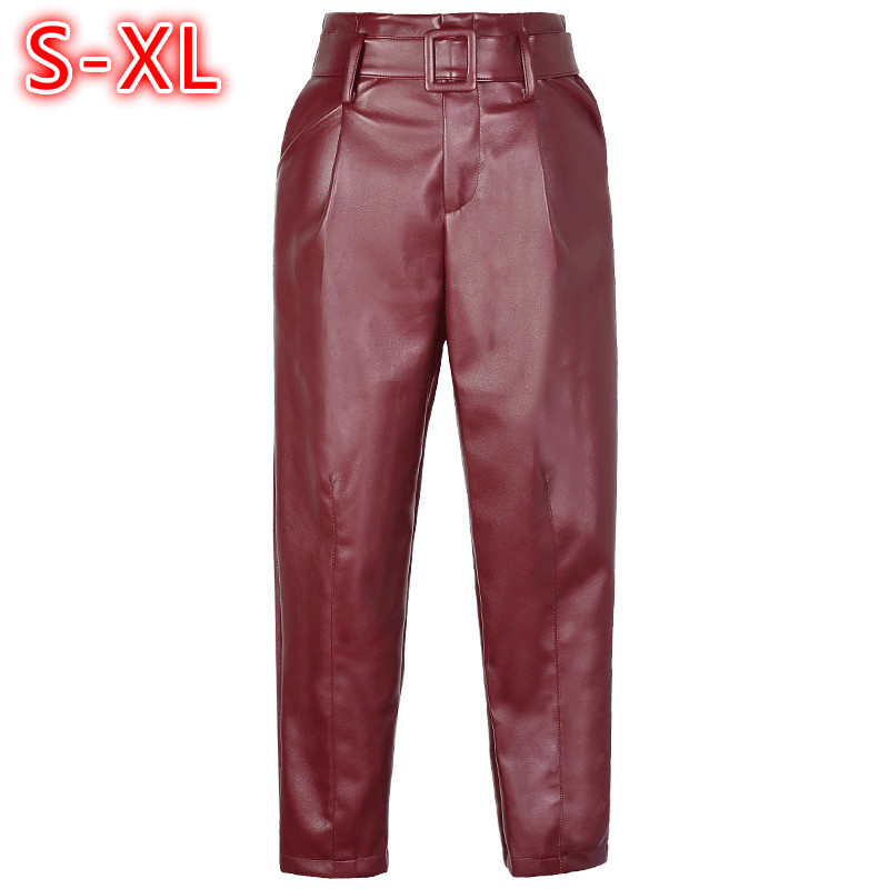 2018 PU Leather Pants Women Zipper Fashion Belt Faux Leather Pants High Waist Haren Loose Casual Ankle length trousers Red