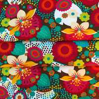 Cotton Woven Fabric - Flower,leaf and dot