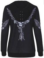 Hoodies Sweatshirt Women Angel Wing Skull Print Zip Up Hoodie Punk Casual Lace Up Hooded Pullover