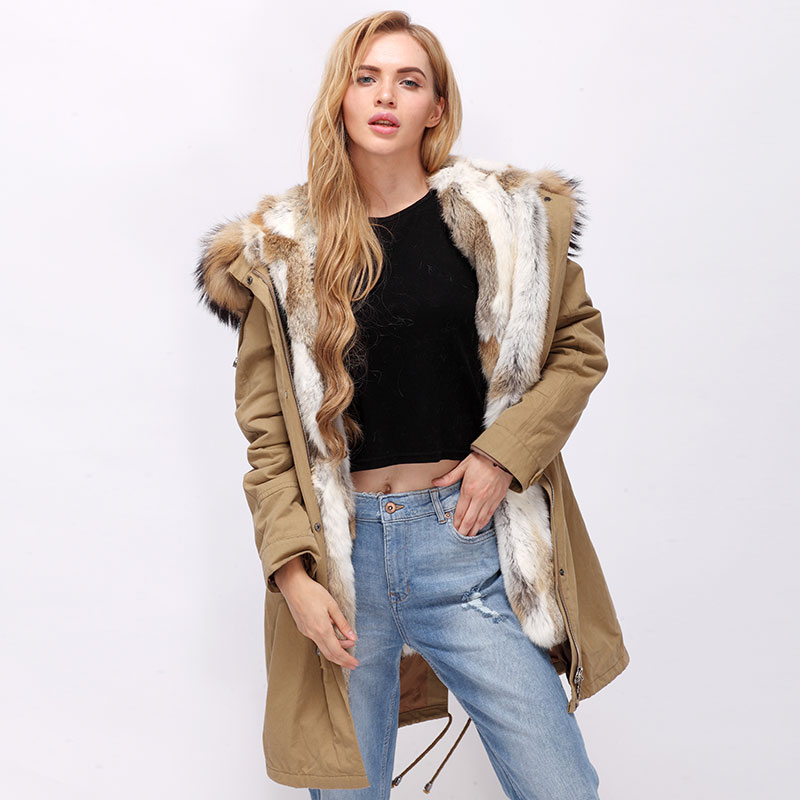 Real racoon fur hood with rabbit fur lining parka coat cuff and placket option roomble люстра racoon white