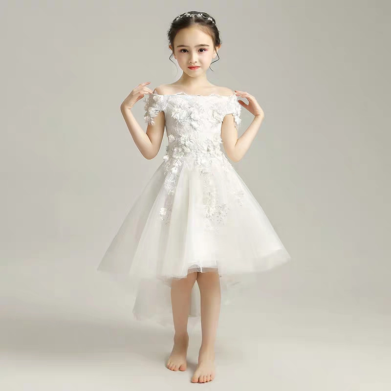 Baby Kids Elegant White Appliques Flowers Shoulderless Piano Costume Host Prom Lace Dress Children Girls Birthday Tail DressBaby Kids Elegant White Appliques Flowers Shoulderless Piano Costume Host Prom Lace Dress Children Girls Birthday Tail Dress