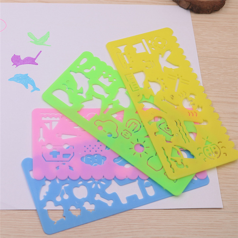 4PCS Cute Art Graphics Symbols Drawing Template Stationery Ruler Kids Drafting Stencil Toys Gifts For Children Kids Student