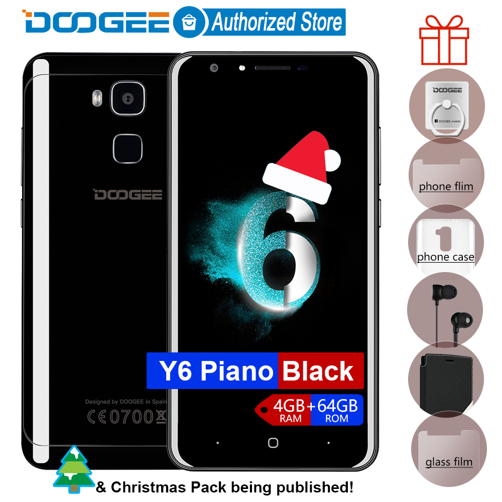 Doogee Y6 Piano Black Fingerprint mobile phones 5 5Inch HD 4GB 64GB Android6 0 Dual SIM