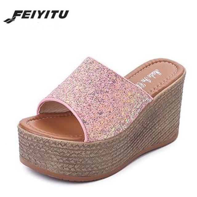 10e548bc1 FeiYiTu Summer 2018 new slippers wear outside sponge wedge heel fashion  cool slippers female thick bottom shoes White Black