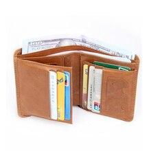 купить Men Wallet Genuine Leather Short Wallets Male Multifunctional Cowhide Male Purse Coin Pocket Photo Card Holder Small Wallets дешево