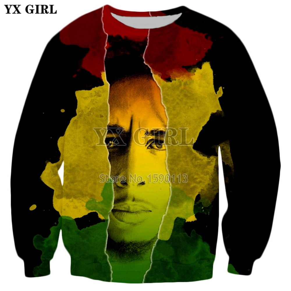 YX GIRL Drop shipping Men/Women Hip Hop Long Sleeve Outerwear Reggae Bob Marley 3d Print Hoodies Harajuku style Sweatshirts