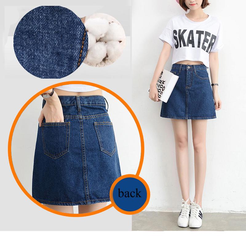 Lucyever Fashion Korean Summer Women Denim Skirt High Waist Black Mini Skirts Package Hip Blue Jeans Harajuku Plus Size Cotton 8