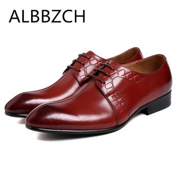 New mens genuine leather dress shoes men oxford wedding shoes fashion sewing pointed toe quality cow leather business work shoes