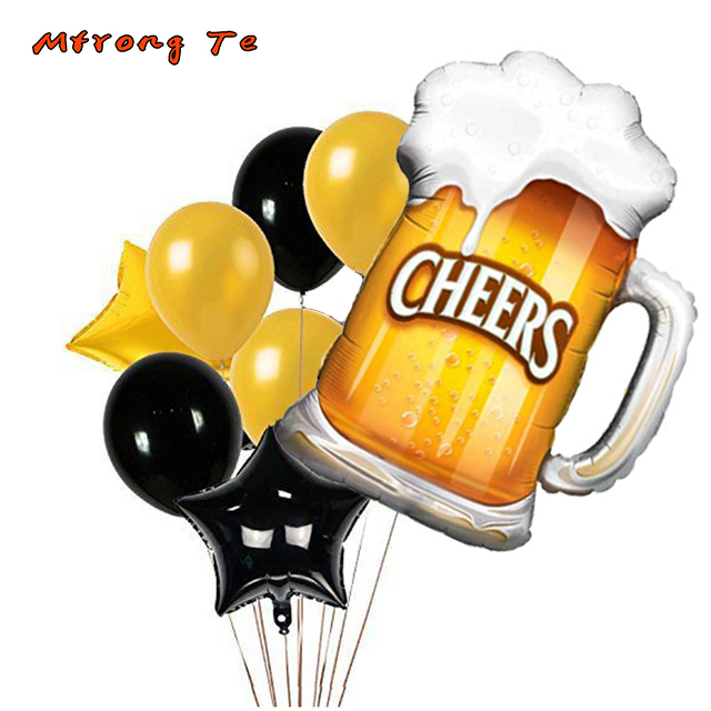 8pcs Lot Graduation Party Summer Birthday Decoration Balloons Cheers Beer Mug Foil Black Gold Helium In Ballons Accessories From Home