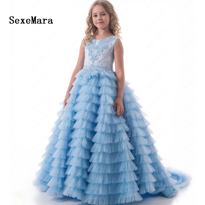 Luxury Ball Gown Customized Flower Girls Dress For Weddings Beaded Lace Tiered Dress Birthday Pageant Gown Vestidos Longo