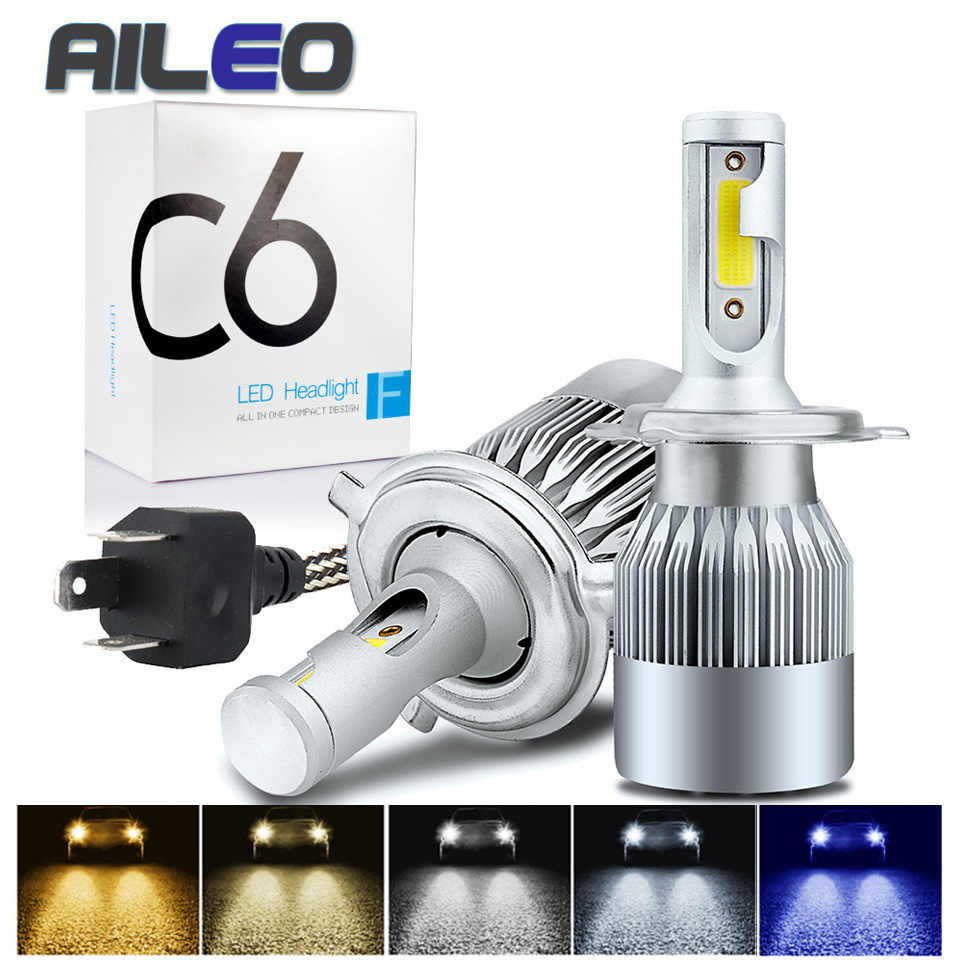 AILEO 8 color choice H4 LED H7 H11 H8 HB4 H1 H3 HB3 HIR2 H16 Auto C6 Car Headlight Bulb Car Styling 6500K 4300K 8000K automotivo