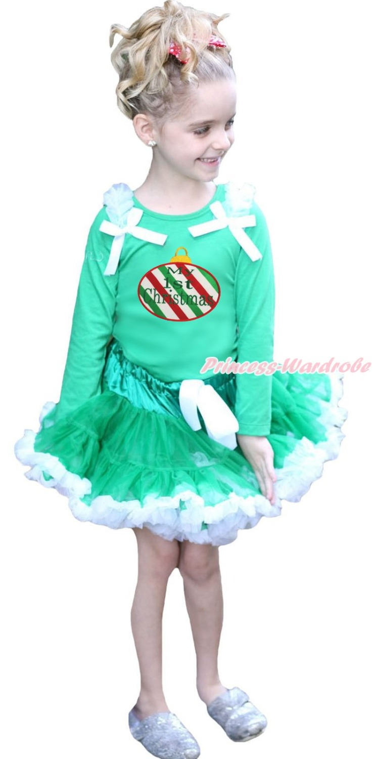 My 1ST Christmas RWG Lighting Green Top White Pettiskirt Girls Outfit Set 1-8Y green top shirt my 2nd st patrick day rainbow clover girls skirt outfit set 1 8y